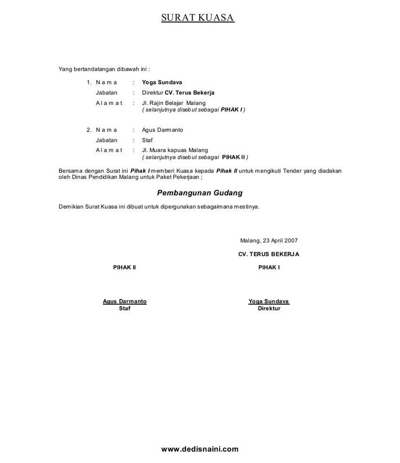 Contoh Surat Kuasa Semua Jenis Sc